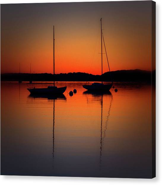 Summer Sunset Calm Anchor Canvas Print