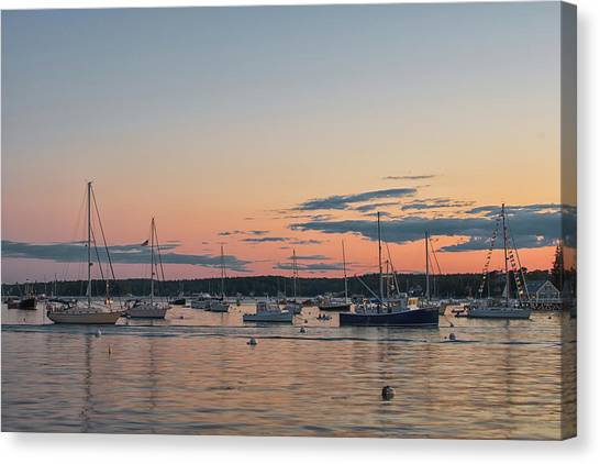 Summer Sunset In Boothbay Harbor Canvas Print