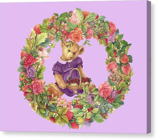 Canvas Print featuring the painting Summer Teddy Bear With Roses by Judith Cheng