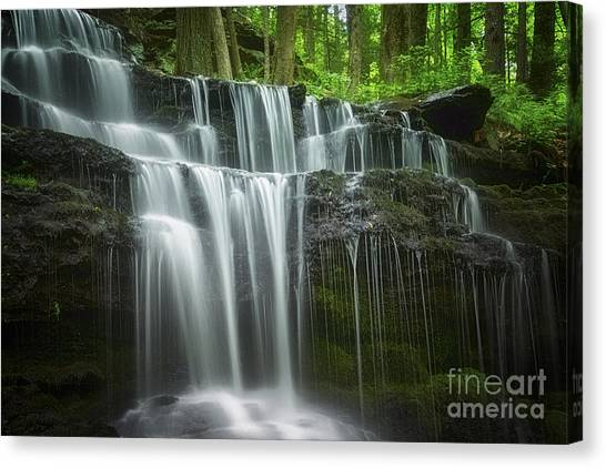 Rights Managed Images Canvas Print - Summertime At Gunn Brook Falls by Mary Lou Chmura
