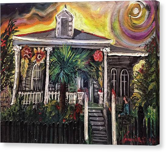 Canvas Print featuring the painting Summertime New Orleans by Amzie Adams