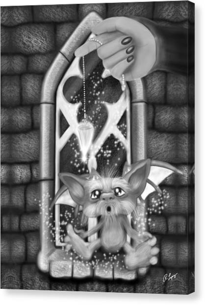 Summoned Pet - Black And White Fantasy Art Canvas Print