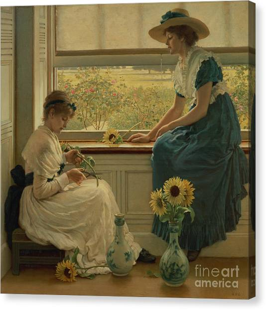 Victorian Garden Canvas Print - Sun And Moon Flowers by George Dunlop Leslie