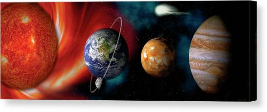 Planets Canvas Print - Sun And Planets by Panoramic Images
