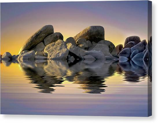Sun Bathed Rocks Canvas Print