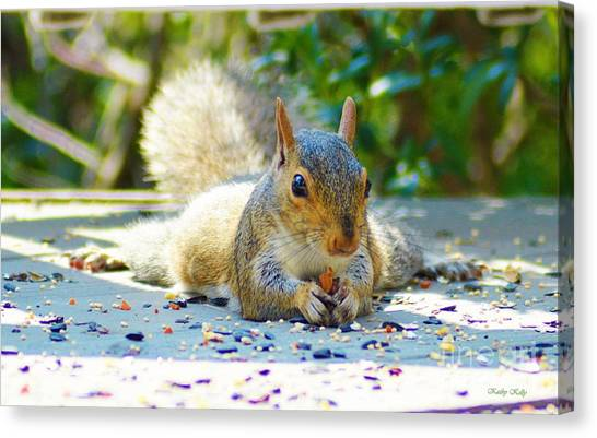 Sun Bathing Squirrel Canvas Print