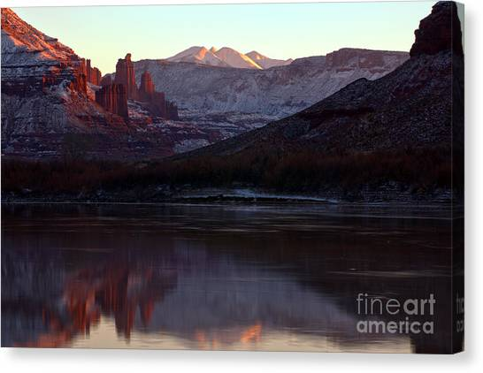 Moenkopi Sandstone Canvas Print - Sun Down At Fisher Towers by Adam Jewell