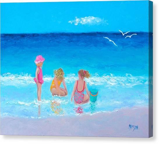 Children Playing On Beach Canvas Print - Sun Filled Days by Jan Matson