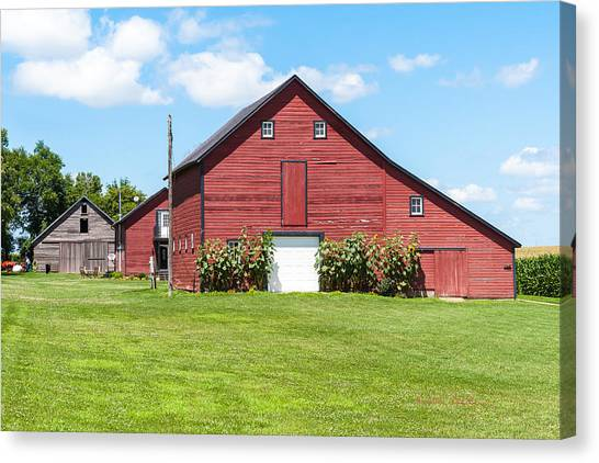 Canvas Print featuring the photograph Sun Flower Barn by Edward Peterson