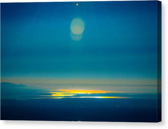 Sun Going Down On The Sound Canvas Print