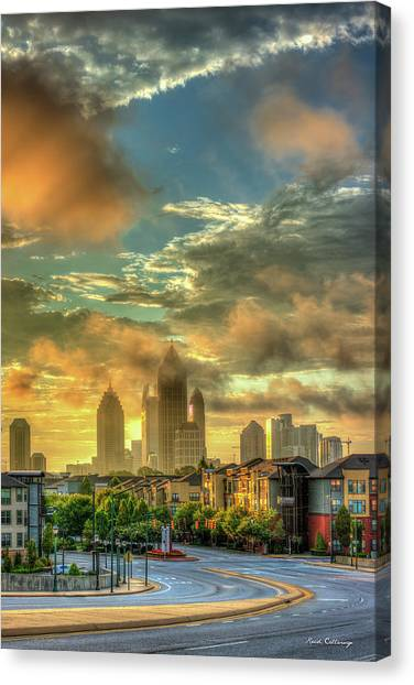 Emory University Canvas Print - Sun Is Up Midtown Atlanta Atlantic Station 2 by Reid Callaway