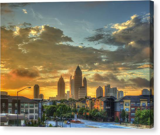 Emory University Canvas Print - Sun Is Up Midtown Atlanta Atlantic Station by Reid Callaway