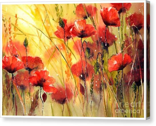 Wyoming Canvas Print - Sun Kissed Poppies by Suzann's Art