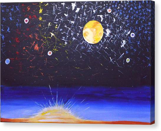 Sun Moon And Stars Canvas Print