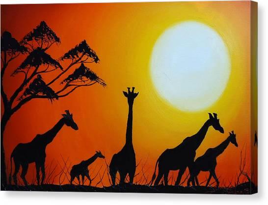 Sun Of The Giraffe 12 Canvas Print by Dunbar's Modern Art