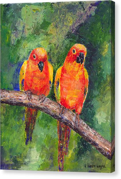 Parakeets Canvas Print - Sun Parakeets by Arline Wagner