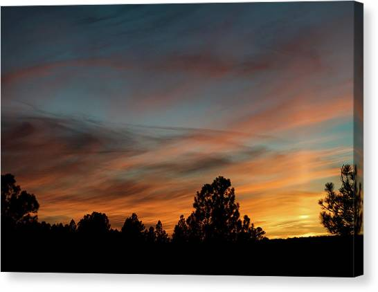 Canvas Print featuring the photograph Sun Pillar Sunset by Jason Coward