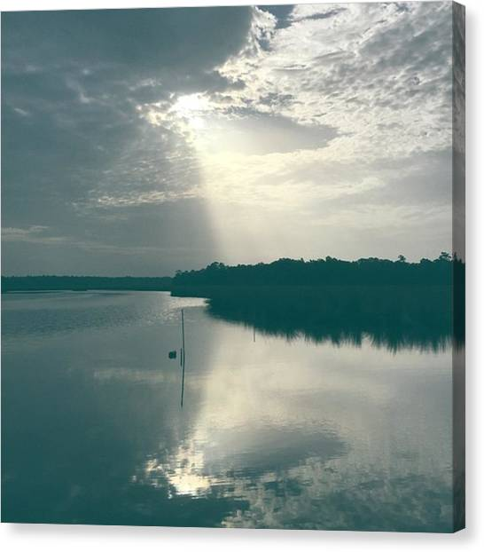 Bayous Canvas Print - Sun Ray Reflection #bayou #reflection by Joan McCool