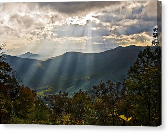 Sun Rays Linville Falls Nc Canvas Print by Michael Whitaker