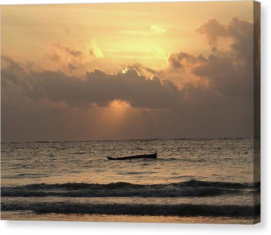 Exploramum Canvas Print - Sun Rays On The Water With Wooden Dhows by Exploramum Exploramum
