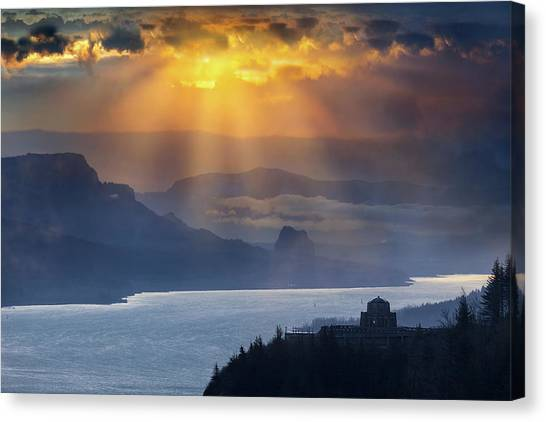 Canvas Print - Sun Rays Over Columbia River Gorge During Sunrise by David Gn