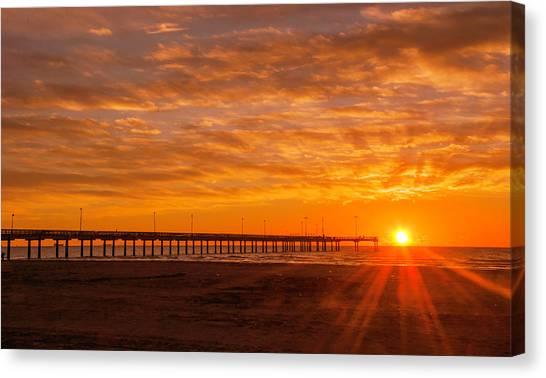 Sun Rising At Port Aransas Pier Canvas Print