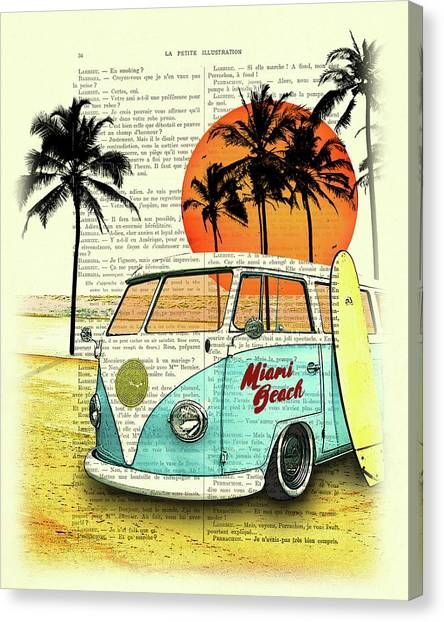 Surfboard Canvas Print - Sun Sea Beach And Fun by Madame Memento
