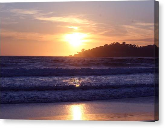 Sun Set In Carmel Canvas Print by Ofelia  Arreola