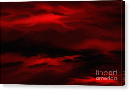 Sun Sets In Red Canvas Print