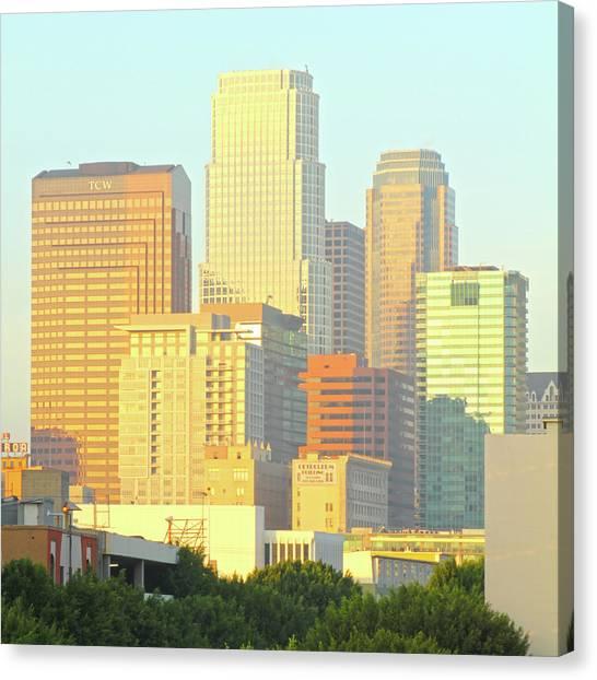 Sun Sets On Downtown Los Angeles Buildings #2 Canvas Print