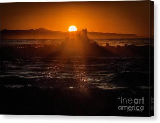 Sun Setting Behind Santa Cruz Island Canvas Print