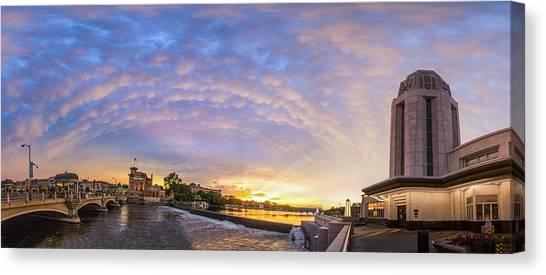 Sun Setting On Downtown Saint Charles Illinois  Canvas Print by Lorraine Matti