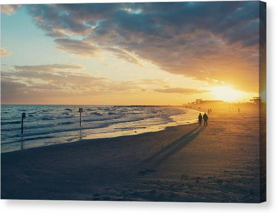 Sun Setting On Galveston Beach Canvas Print