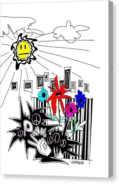 Canvas Print featuring the drawing Sun Shiny Day by Teddy Campagna