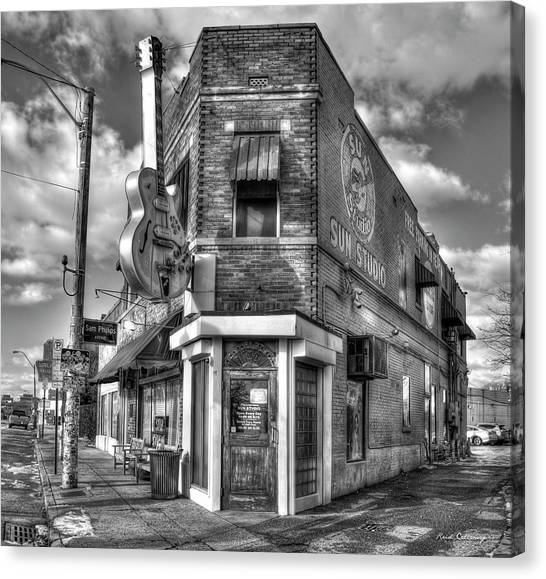 Howling Wolves Canvas Print - Sun Studio B W The Rock N Roll Birthing Place Memphis Tennessee Art by Reid Callaway