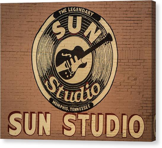 Howling Wolves Canvas Print - Sun Studio Memphis Tennessee Sign Art by Reid Callaway