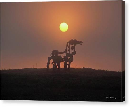 University Of Georgia Canvas Print - Sun Up The Iron Horse Art by Reid Callaway