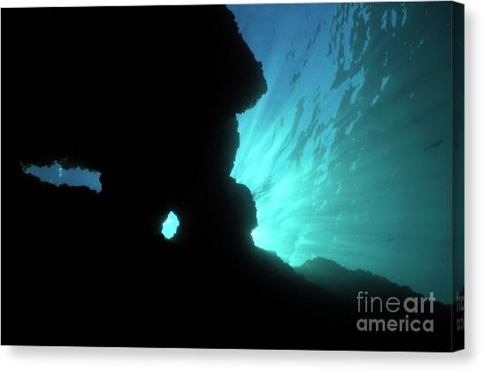 Underwater Caves Canvas Print - Sunbeams And Holes In Underwater Cave by Sami Sarkis