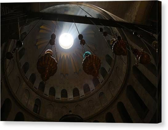 Sunbeams At The Church Of The Holy Sepulchre Canvas Print by Heidi Pix