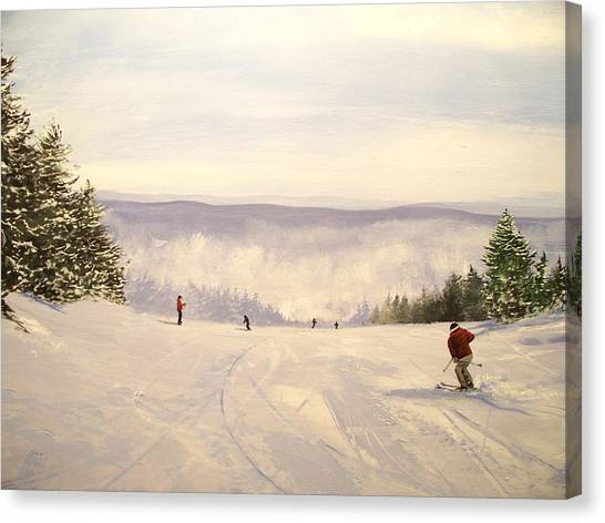 sunbowl at Stratton Mountain Vermont Canvas Print by Ken Ahlering