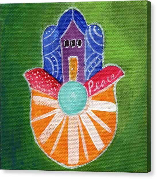 Hands Canvas Print - Sunburst Hamsa by Linda Woods