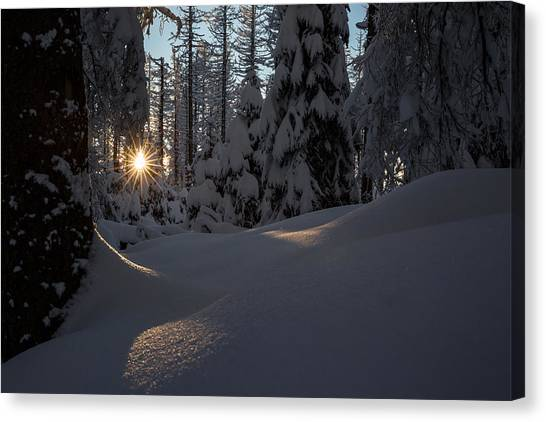 Sunburst In Winter Fairytale Forest Harz Canvas Print