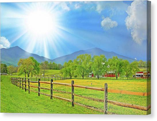 Sunburst Over Peaks Of Otter, Virginia Canvas Print