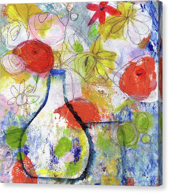 Farmers Canvas Print - Sunday Market Flowers- Art By Linda Woods by Linda Woods