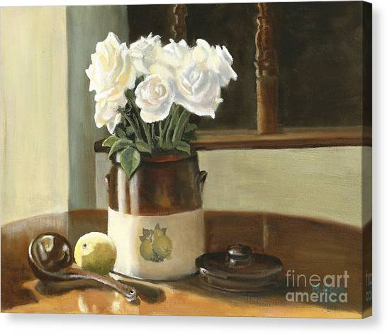 Sunday Morning And Roses - Study Canvas Print