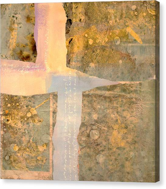Torn Paper Collage Canvas Print - Sunday Morning by Nancy Merkle