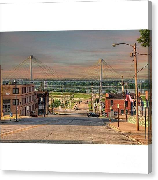 University Of Illinois Canvas Print - Sunday Morning Henry Street Alton by Larry Braun