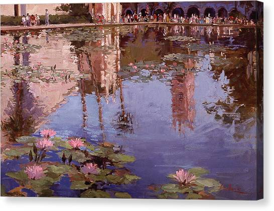 Betty Billups Canvas Print - Sunday Reflections - Water Lilies by Betty Jean Billups