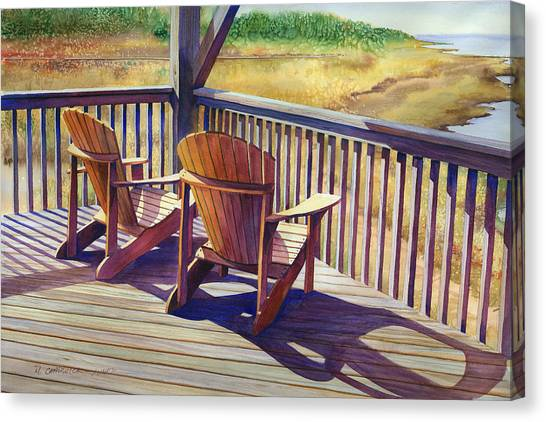 Marshes Canvas Print - Sundeck Geometry Vii by Marguerite Chadwick-Juner