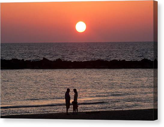 Sundown On Tel Aviv Beach Canvas Print by Paco Feria
